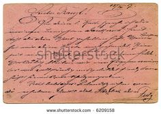 stock photo : Old pink grunge calligraphy from on a army postal service card 1917