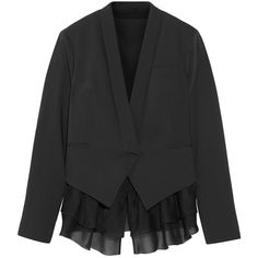 Brunello Cucinelli Wool-blend twill blazer ($1,169) via Polyvore featuring outerwear, jackets, blazers, charcoal, tailored blazer, twill blazer, wool blend jacket, brunello cucinelli jacket and ruffled blazer