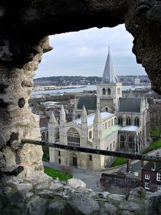 View of Rochester Cathedral from Castle, Kent, England