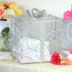 Pretty wedding card holder for reception gift table!