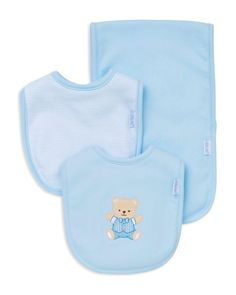 little me infant boys bear bib burp