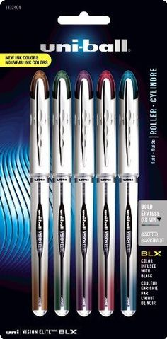 Uni-ball Vision Elite BLX Series Stick Bold Point 5 Rollerball Pens, Colored Ink Pens (1832404) by Uni-ball, http://www.amazon.com/dp/B008OEHWYG/ref=cm_sw_r_pi_dp_Of09rb0RJVDQS