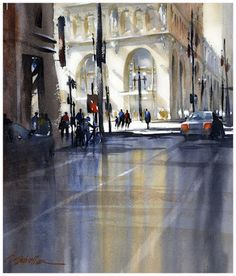 3rd and broadway  thomas w schaller - watercolor  30x22 inches