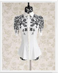 Morpheus Boutique  - White Black Floral Cap Sleeve Button Down Shirt