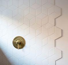 Diamond tiles in Deco White. Diamond tiles in Deco White. White Bathroom Tiles, Bathroom Flooring, Wall Tiles, White Bathrooms, Master Bathrooms, White Tile Backsplash, Minimal Bathroom, Tile For Small Bathroom, Master Shower Tile