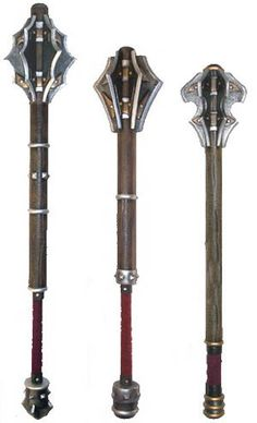 Flanged maces. A mace is a simple weapon that uses a heavy head on the end of a handle to deliver powerful blows.