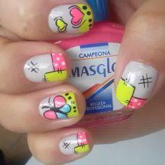 Green and pink nails Toe Nail Art, Toe Nails, Pink Nails, Butterfly Nail Art, Manicure Y Pedicure, Cool Nail Designs, Creative Nails, Summer Nails, Nail Colors