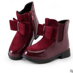 e4e8c9e892852 US $12.98  2017autumn and winter boots children's shoes girls bow in the  wind with mid top of the British carved boots-in Boots from Mother & Kids  on ...