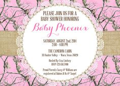 Pink camo baby shower invitation sprinkle princess hunting girl pink realtree camo baby shower invitation diy print file filmwisefo