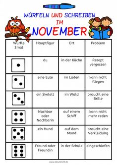 "Heute schließe ich die Serie ""Dice and write in …"" ab. Primary School Teacher, Primary Education, Secondary School, Elementary Education, Teaching Literature, Language And Literature, Roll A Story, Math Cheat Sheet, German Grammar"