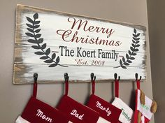Personalized Christmas Stocking Holder / Merry Christmas Stocking Holder / Stocking Hanger / Stocking Holder for wall / Christmas Signs Christmas Wood Crafts, Merry Christmas, Christmas Signs, Rustic Christmas, Christmas Projects, Winter Christmas, All Things Christmas, Holiday Crafts, Christmas Holidays