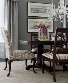 Ethan Allen Formal Dining Room - love the print end chairs with striped side chairs