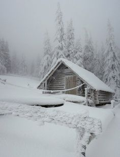 Snowy cabin | Winter | Pinterest #WinterWonders