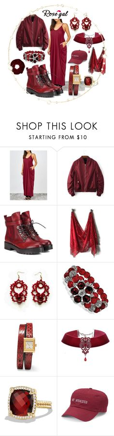 """""""rosegal casual cami maxi in deep sexy reds - comfy style"""" by caroline-buster-brown ❤ liked on Polyvore featuring WithChic, 1928, Gucci, David Yurman, SO and Miss Selfridge"""