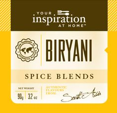 Biryani Spice Blend Warm, aromatic and South Asian inspired. Blend through rice for a perfect adition to your favourite Indian curry.Shopping Cart www.LindaPanko.YourInspirationatHome.com.au