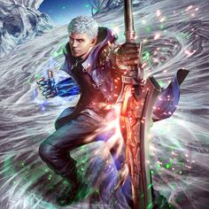 """""""Card art came in for. One-Armed Hunter Nero! There's speculation around a Green Hero given the Grand Prix reward tickets being green-colored, just like Jill's were Red. I hope the rumors are true :D Crying Angel, Nero Dmc, Devil May Cry 4, Monster Concept Art, Dmc 5, Marvel Wallpaper, Game Character, Cool Art, Fan Art"""