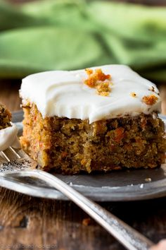 The best carrot cake recipe I've ever had is this pineapple carrot cake with cream cheese frosting! Moist, spiced, and so easy!