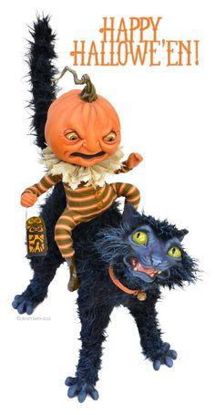 Rucus Studio Halloween Mischief Art Print by Scott Smith - X-Small Halloween Arts And Crafts, Fete Halloween, Halloween Doll, Halloween Items, Holidays Halloween, Scary Halloween, Vintage Halloween, Halloween Pumpkins, Halloween Ornaments