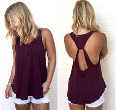 Women's New Summer Fashion Sexy Backless Off Shoulder Tank Top = 5738164161 from Pepper Berry. Saved to tank tops; Loose Fitting Tank Tops, Red Tank Tops, Cute Tank Tops, Cute Summer Tops, Summer Tank Tops, Tank Top Outfits, Sport Top, Mode Outfits, Tomboy Outfits