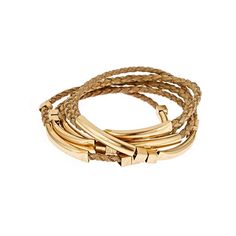 Love Braided Bracelet Set in Cream ($100) ❤ liked on Polyvore featuring jewelry, bracelets, woven bracelet, 18k jewelry, 18k bangle, macrame bracelet and ankora