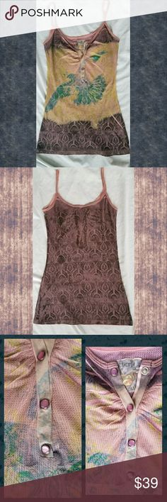 🆕️ BUTTERFLY DROPOUT thermal Tank Cami top New or like new i don't recall wearing however  i did launder . ahhmayzing line this was msrp was $78 & this line would sell out FAST..alwasy wondered y they went defunct. kinda like m2f..another fave of mine & danang?!? alwasy had rad stuff that sold out FAST . hmm neway  WAffle knit thermal top w/Henley buttons  sublimation print  DISTRESSING abrasions  at straps (pls see pics) hem is slightly rolled not sure if came.like that or cos FOLDED so…
