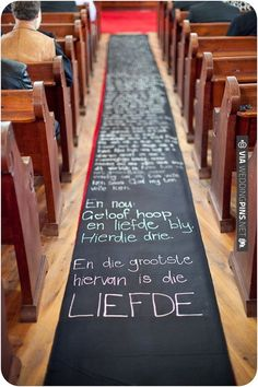 DIY Aisle Runner.  Groom could write a special message to his bride, lyrics to a special song, or you could even get crafty and create a timeline of your time together! Love this! | CHECK OUT MORE IDEAS AT WEDDINGPINS.NET | #weddings #uniqueweddingideas #unique