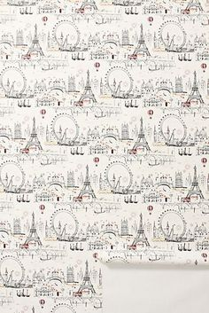 Paris Wallpaper From Anthropologie website Wallpaper C, Eclectic Wallpaper, Paris Wallpaper, Temporary Wallpaper, Unique Wallpaper, Bathroom Wallpaper, Designer Wallpaper, Europe Wallpaper, French Wallpaper