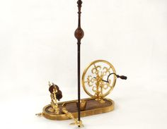 18th C table spinning wheel in gilt bronze and wood, with maker's label Jean Louis Bavant registered craftsman in 1758. France