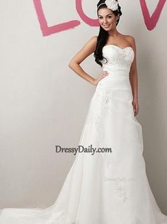 Charming Organza & Satin A-line Sweetheart Empire Waist Wedding Dress - Wedding Dresses - Weddings