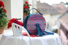 lovely embroidered bag by ANDRA OPREA Round Bag, Embroidered Bag, Fashion Backpack, Backpacks, Traditional, Bags, Style, Handbags, Swag