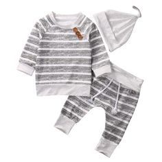 ac9a9185377 A cute and cosy tracksuit for baby boys and girls. The grey and white  striped