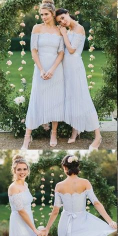 Off-The-Shoulder Tea-length Light Blue Bridesmaid Dress,Cheap Bridesmaid Dresses,WGY0422#bridesmaids #bridesmaiddress #bridesmaiddresses #dressesformaidofhonor #weddingparty #2020bridesmaiddresses