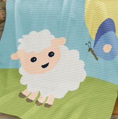 Crochet Pattern | Baby Blanket / Afghan - Sheep and Butterfly