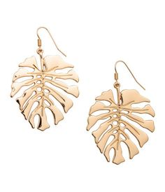 Gold-colored. Leaf-shaped metal earrings. Length 2 1/2 in.