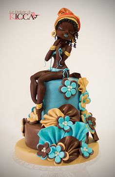 Afro art - Cake by ledeliziedikicca Pretty Cakes, Beautiful Cakes, Amazing Cakes, Unique Cakes, Creative Cakes, Fondant Cakes, Cupcake Cakes, African Wedding Cakes, African Cake