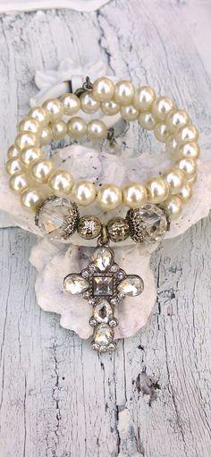 Pearl Crystal Cross Wrap Bracelet Religious Jewelry by Secret Stash Boutique on Etsy