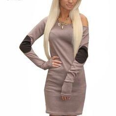 Long Sleeve Dress Long sleeve off shoulder dress. Black patches on elbows. Very soft. Dresses Long Sleeve