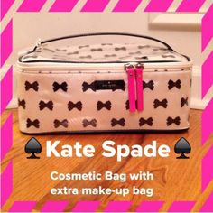 "NWT  Kate Spade Tuxedo Court Cosmetic Tote The Large Colin. 2 Bags in one!!!  Kate Spade signature Bow design. Interior is a Bright Pink w/ divider and 2 zip pockets. Great for trips or just to store your cosmetics at home. The 2nd bag is great to house brushes and bronzes but an entire make-up clutch that you can just take out and toss in your tote for touch ups. Measures 11""x5""x7.5 (larger case)  carry along is 10""x3.5""x3.5"". Firm kate spade Bags Cosmetic Bags & Cases"