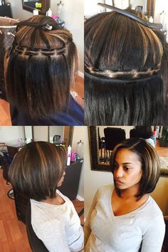 Brittany has a full Braidless sew-in adding a little length and volume. This method is very flat & allows air to your scalp. Its a great Protective Style. Stylists can learn how to do this method at www.luxurytresspro.com School of Hair Extensions.