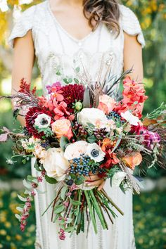 Rich plum and pink Bridal Bouquet | Photo by Alyssia B Photography