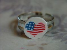 Clearance Sale Heart American Flag White Gold Adjustable Polymer Clay Ring