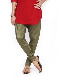 Buy Folklore Women Olive Green Churidar Pants - 387 - Apparel for Women - 397021