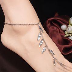 Tassel Anklets Leaves Mittens Ankle Chain Tassel Ankle Foot Chain For Women Vintage Tassel Leg Bracelet Hand-Beaded #barefoot #fun #anklet