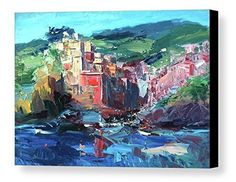 """Cinque Terre Riomaggiore Artwork Canvas Wall Art Abstract Seascape Prints Impressionist Poster Italy Sea Ocean Coast Home Decor Living Room Gifts Women Men Christmas from Painting Agostino Veroni. *****Please have in mind that it takes 5 to 7 days to finish the product and 3 days to ship it. You can be certain that your order will be in your hands within 10 days of purchase. ***** This large canvas print comes ready to hang and is available in 4 different sizes (16""""x23"""" 20""""x29"""" 24""""x34""""..."""