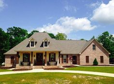 <ul><li>This French Country home plan gives you 4 bedrooms all on one floor and the option to build over the garage and get a 2-story…