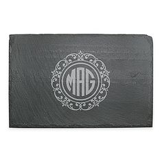 Serve cheese and more on this rustic Susquehanna Glass Lace Slate Cheese Board. Hand cut, with natural stone surface and edge for a 1-of-a-kind look with cork feet to protect your table. Personalize it with your initials in a round monogram.