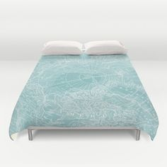 Teal Arctic Map Duvet Cover or comforter bed teal by Mapology