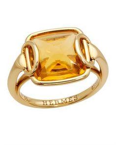Hermes LU 18K Yellow Gold Gemstone Ring