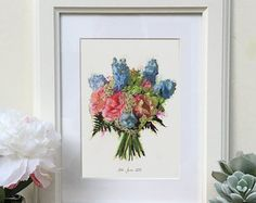A beautiful hand illustration of your wedding bouquet, using coloured inks and watercolours. First Wedding Anniversary, Unique Gifts, Handmade Gifts, Personalized Wedding Gifts, Hand Illustration, Paper Gifts, Beautiful Hands, Etsy Store, Wedding Bouquets