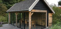 Backyard Office, Backyard Studio, Garden Office, Backyard Patio, Summer House Garden, Big Garden, Screened In Patio, Back Patio, Timber Frame Garage